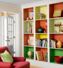 Bookcases can be transformed with a pop of color on the back
