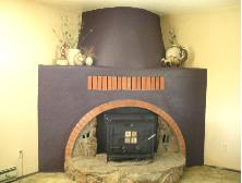 Our fireplace painted a plum color