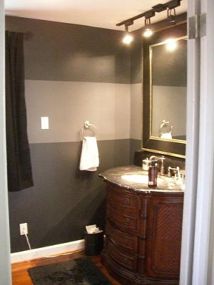 Black and gray horizontal wall stripes