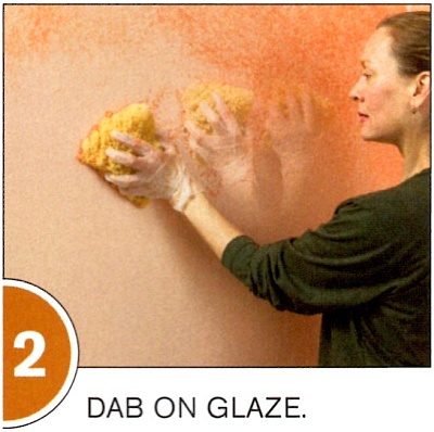 Use a pouncing hand motion for sponging the surface