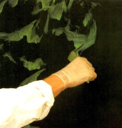 Applying glaze in random strokes
