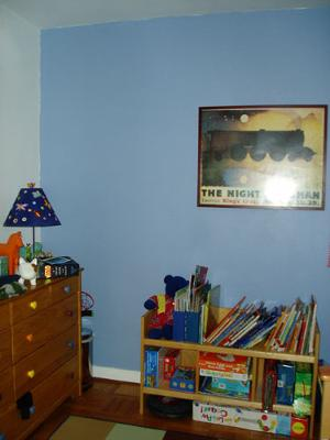 Blue accent wall in my children's room