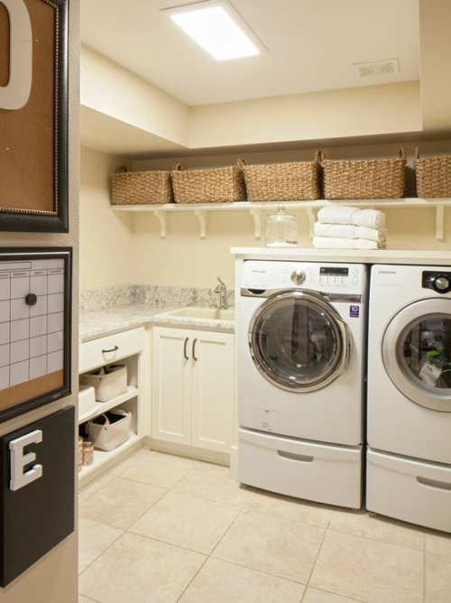 Laundry room painted a soft pale yellow color
