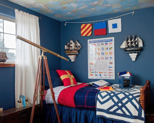 Navy blue and red, Nautical boy's bedroom