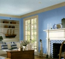 Shades of blue can appear warmer or cooler - depending on the surrounding colors