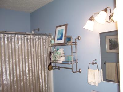 My husband chose this brilliant blue wall paint color