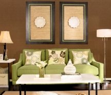 Dark brown painted walls need to be balanced with light flooring, furniture and fabrics