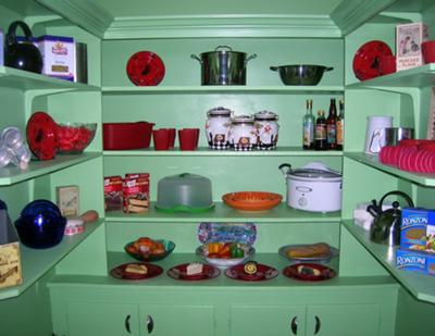 Green butler's pantry shelves