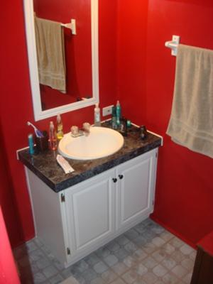 Candy apple red paint in our bathroom