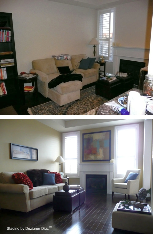 Before and after: living room painted and decorated in green