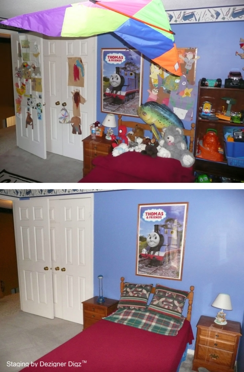 Before and after: blue boy's bedroom decluttered for an open house
