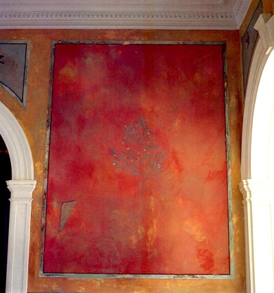 Faux fresco paint finish created with rag painting and sanding