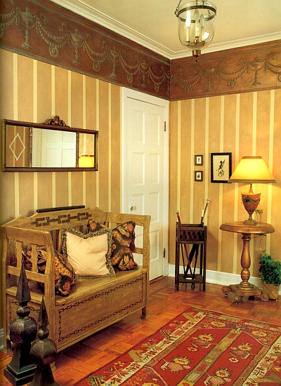 Yellow and tan wall stripes with a ragged on paint finish