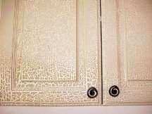 Crackle paint finish on cabinets
