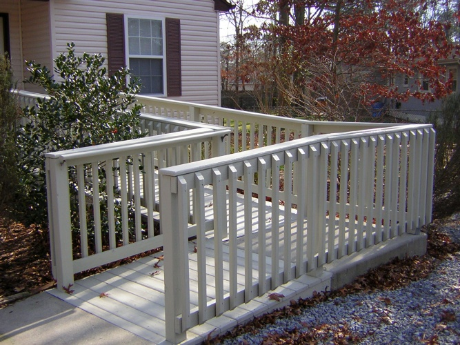 After: solid color stain protects and beautifies porch ramp