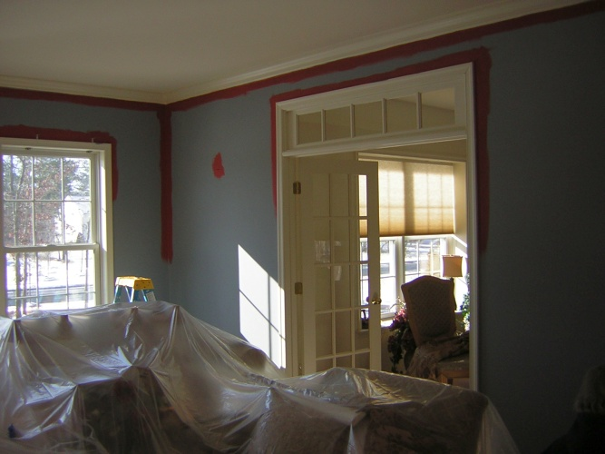 Before: primed walls in living room