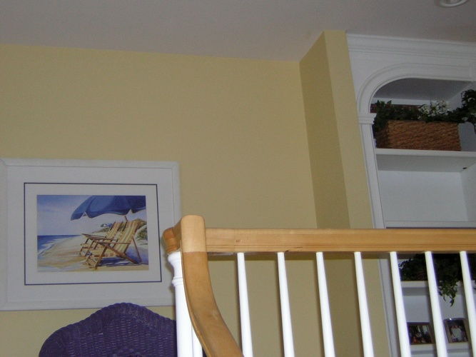 After: fun yellow paint color in hallway