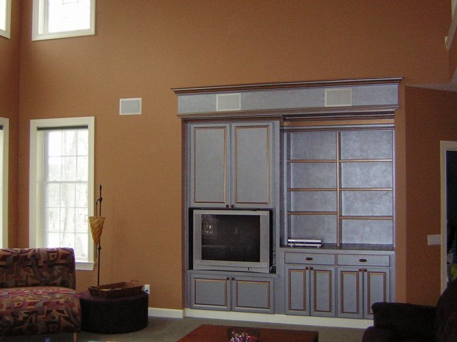 After: metallic paint finishes make shelves stand out