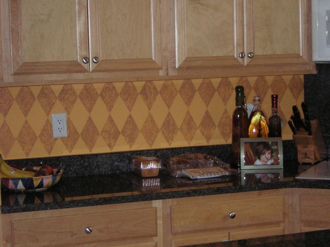 After: decorative painted diamonds look like tile