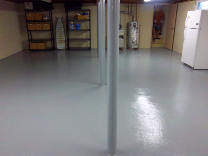 After: glossy painted floor