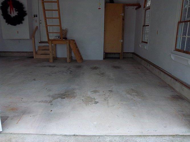 Before: unpainted garage floor