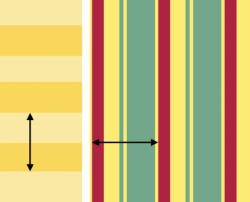 The repeating cluster of stripes is a pattern repeat