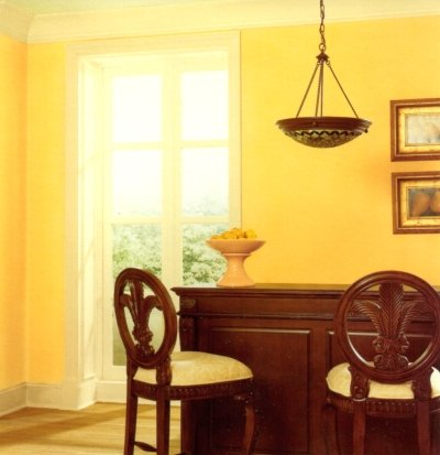 Example of light yellow trim and deeper yellow wall color