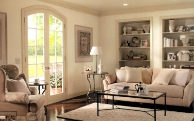 Beige woodwork in an all-neutral room color scheme