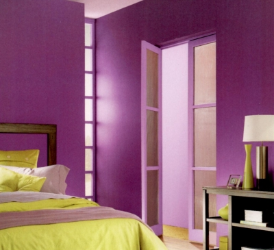 Purple trim with same color walls in a modern style bedroom