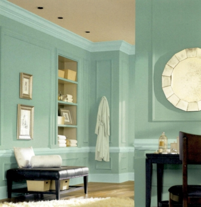 Green walls and aqua blue trim in a bathroom