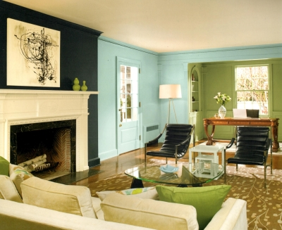 Black, blue and green walls with same color woodwork