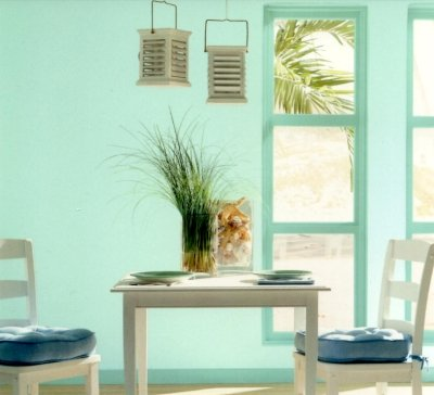 Aqua green paint color scheme in an island themed breakfast corner