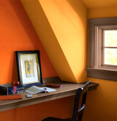 Brown trim with yellow and orange wall colors