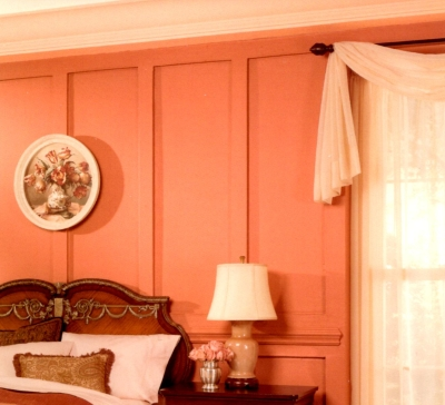 Light pink trim in a romantic all-pink bedroom