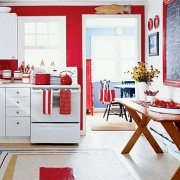 red and white kitchen color scheme