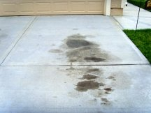 Oil stains on driveway