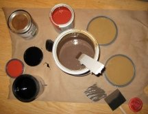 Use up old paints by mixing them together
