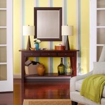 Regular paint stripe patterns are similar to wallpaper