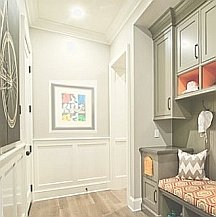 Short corridors can be visually elongated with paint and color