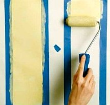 Use paint leftovers for painting stripes on walls