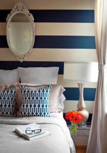 Bold stripe colors look best on an accent wall