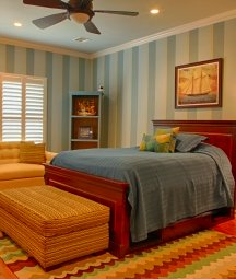 Multi-color wall stripes look contemporary