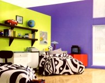 Strong violet colors work great for painting a statement wall in a room
