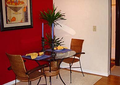 Red Accent Wall For a Small Dining Space