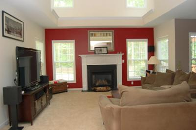 The red is balanced by the neutral decor colors