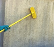 Scrubbing the wall with a brush to remove mold, mildew and their foods