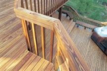 Clear wood sealer on a deck