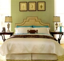 Muted green is a good choice for bedroom walls