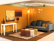 A room painted orange can be lively or peaceful - depending on the shade
