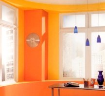 Painting a whole room in a bold orange shade can be too stimulating